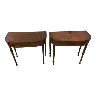 Antique Mahogany Demilune Table - A Pair