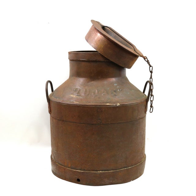 Image of 1890s Antique Oklahoma Huge Copper Milk Jug