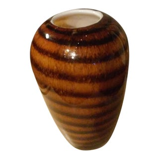 Cased Heavy Glass Striped Corkscrew Vase