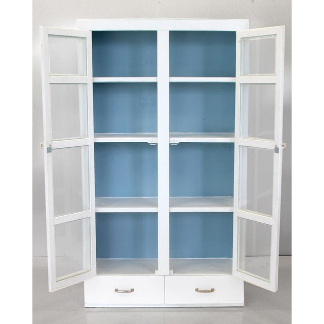 Vintage Primitive White Cottage Style Glass Door Cabinet / Cupboard - Image 3 of 6