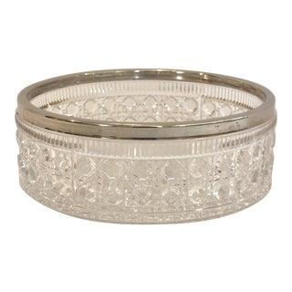 English Silver Rimmed Cut-Glass Bowl
