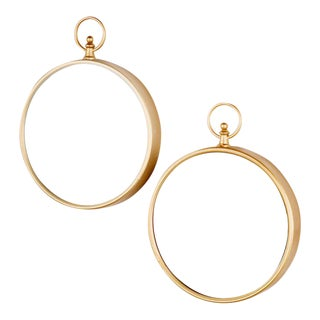 Round Gold Loop Mirrors - A Pair