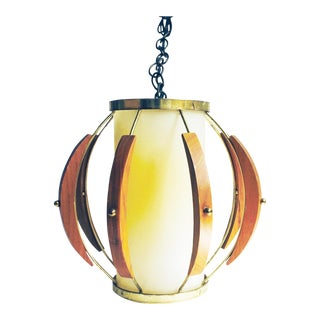 Mid-Century Wood and Brass Pendant Lamp