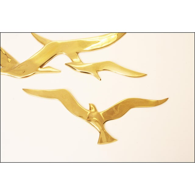 Mid-Century Modern Brass Birds Wall Art - Image 7 of 11