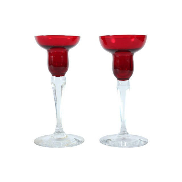 Image of Cut Glass Candleholders - A Pair