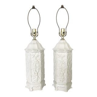 Vintage Chinoiserie Ceramic Pagoda Lamps - A Pair