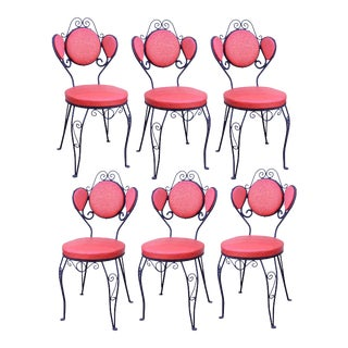 Vintage Hollywood Regency Red Wrought Iron Dining Chairs - Set of 6