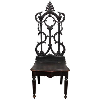 19th Century German Carved Hall Chair