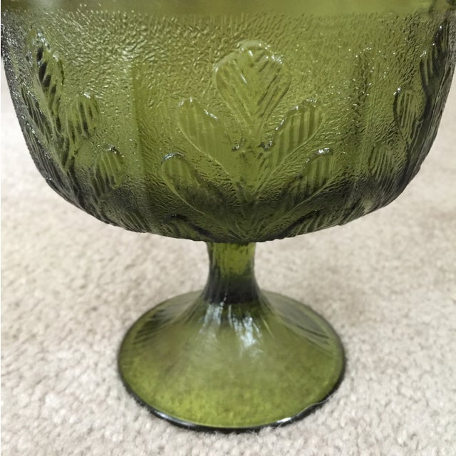 Vintage 1978 Green Glass Pedestal Dish - Image 2 of 6