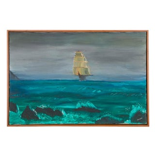 Moonlit Galleon Oil Painting Seascape, Signed