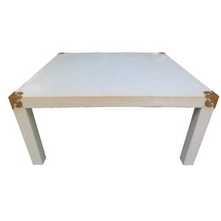 White Faux-Lizard & Brass Cocktail Table