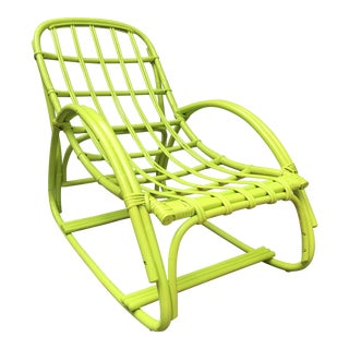Vintage Ypsilanti Stick Kiwi Green Rattan Lounge Chair