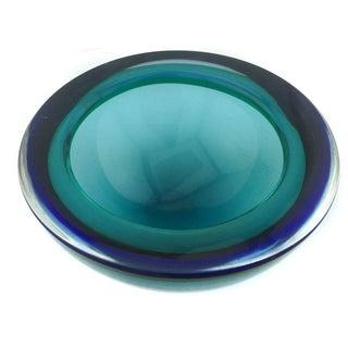 Cobalt & Emerald Murano Glass Geode Bowl