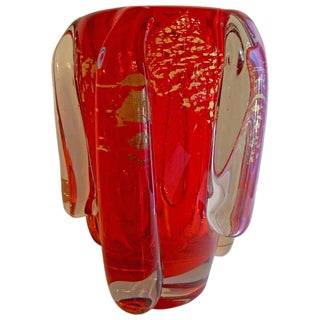Gold & Red Ercole Barovier Murano Vase
