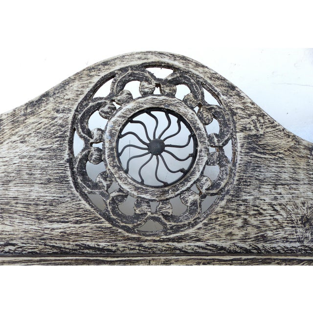 Gray 4-Panel Carved Screen with Iron - Image 6 of 8