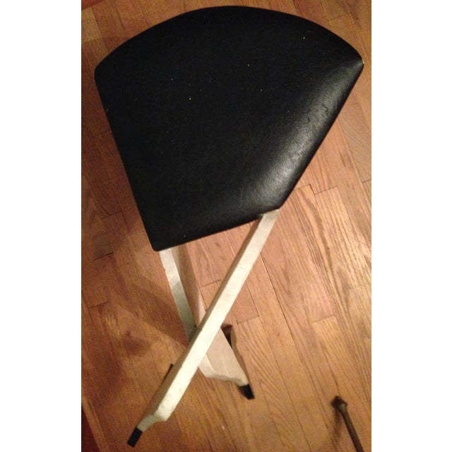 Vintage 1950s Crossed Legs Painted Wood Stool - Image 5 of 7
