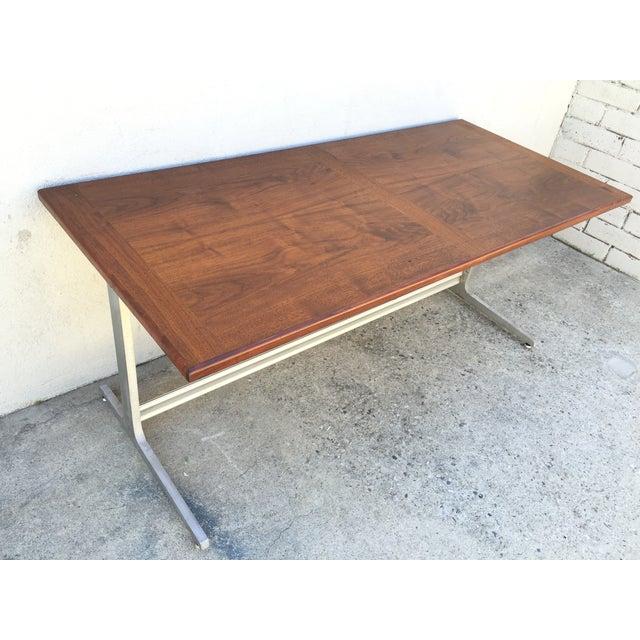 Mid-Century Industrial Metal & Walnut Desk - Image 7 of 11