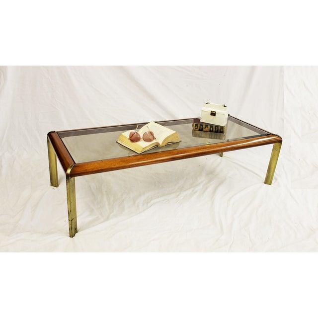 Mid Century Modern Lane Coffee Table Glass & Brass