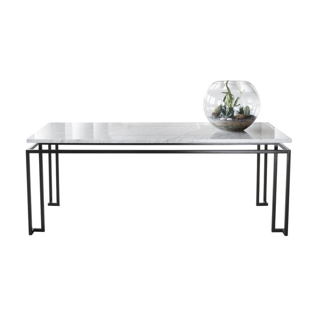 Line custom steel marble dining table chairish for Custom made marble dining tables