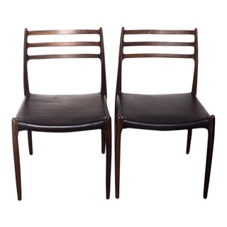 J.L. Moller #78 Black Leather Rosewood Chairs - A Pair