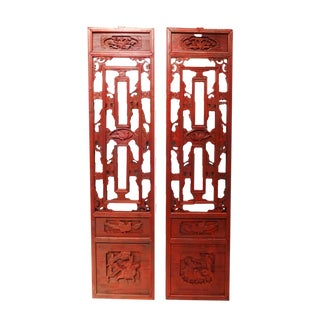 Antique Chinese Hand Carved Wood Wall Hangings - a Pair