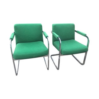 Thayer Coggin Emerald Green Chrome Chairs - A Pair