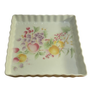 Square Porcelain Serving Dish with Ruffled Sides and Rim, Made in France