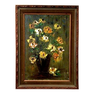 Mid-Century Palette Knife Impasto Floral Painting