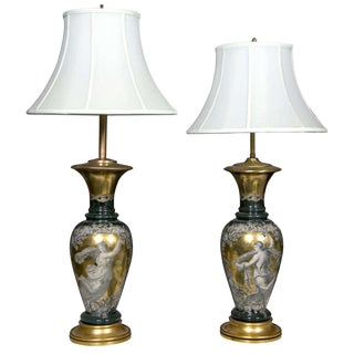 Classical Design Reverse Glass Lamps - A Pair
