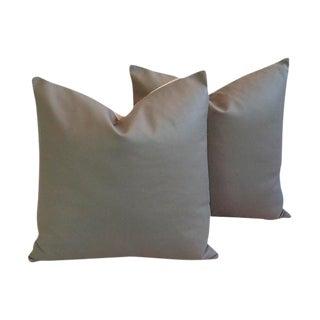 Slate Gray Italian Genuine Leather Pillows - a Pair