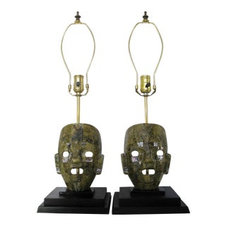 Mexican Green Stone Mask Lamps, a Pair