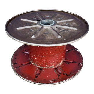 Vintage Steel Cable Spool Bright Red