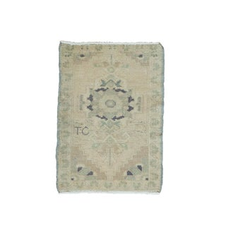 "Vintage Turkish Oushak Mat - 1'7"" x 2'3"""