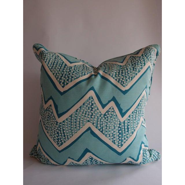 Image of Quadrille Fabric Turquoise Zig Zag Pillow