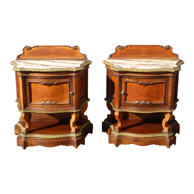 Antique White Marble Top Nightstands - A Pair - Image 1 of 11