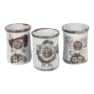 Set of Three Stoneware Pots by Albert Thiry, French, circa 1950