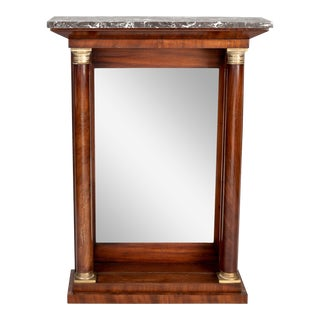 Small Marble Top Pier Console With Mirrored Back