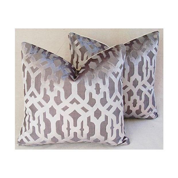 Designer Gray Geometric Trellis Pillows - A Pair - Image 2 of 8