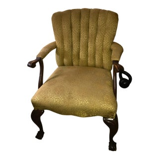 Chippendale-Style Chartruese Accent Chair