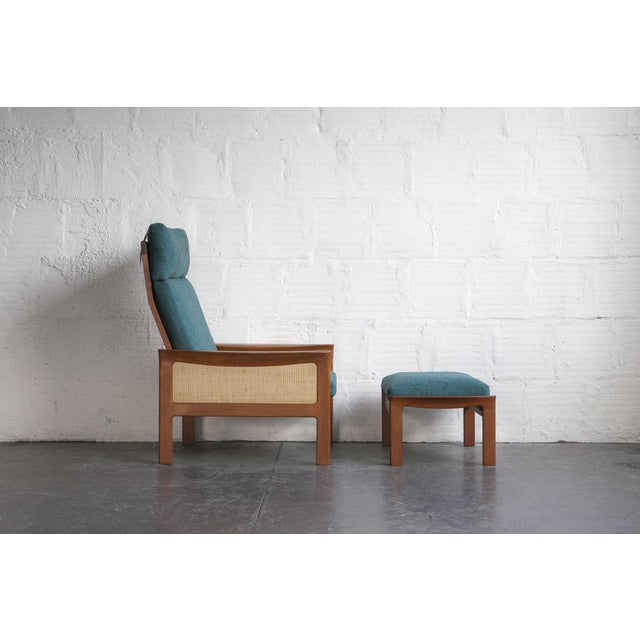 Danish High Back Lounge Chair & Ottoman - Image 4 of 10