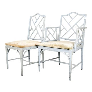 Faux Bamboo Chippendale Dining Chairs - A Pair