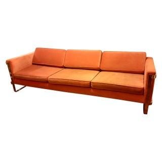 Milo Baughman Chrome Sofa Orange Velvet Upholstery