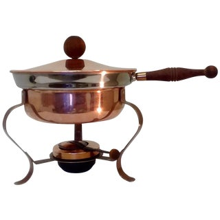 Mid Century Copper Brass & Aluminum Chafing Dish