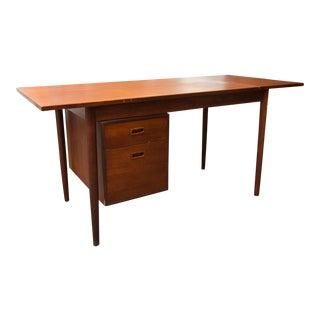 Arne Vodder Style Single Pedestal Drop-Leaf Teak Desk