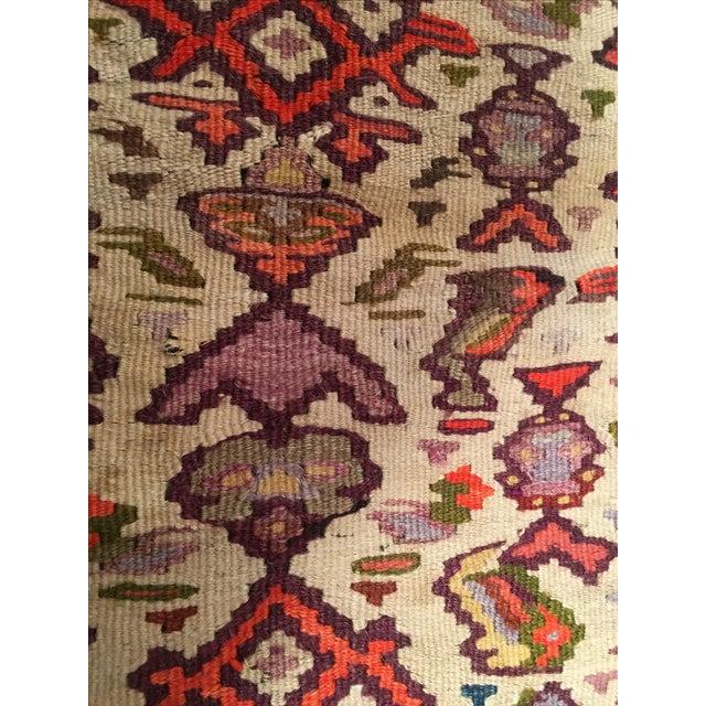 "Vintage Red & Purple Senneh Kilim - 3'4"" X 4'5"" - Image 8 of 9"