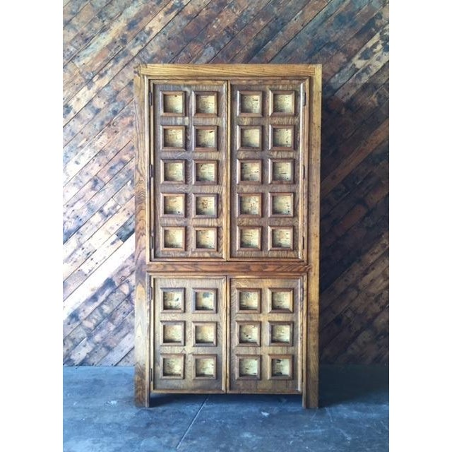 Vintage Wood and Cork Brutalist Armoire - Image 3 of 9