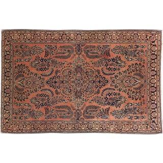 "Antique Persian Sarouk Rug - 4'1"" x 6'4"""