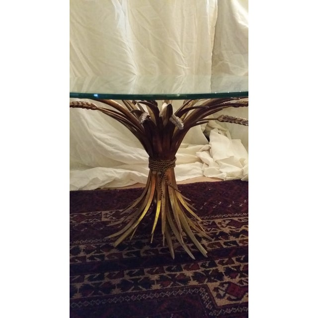 Image of Hollywood Regency Gilt Sheaf of Wheat End Table