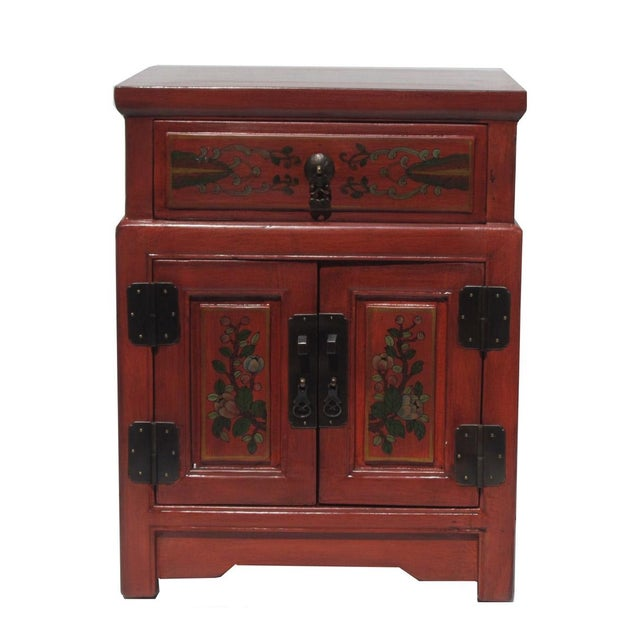 Chinese Orange End Table W/Flower Vase Graphic - Image 1 of 5