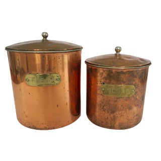 Vintage Copper Brass Stainless Flour and Sugar Graduated Canister Set of 2